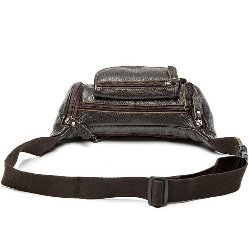 100% genuine leather waist bag men bags fanny pack first layer cowhide leather waist pack belt bag men genuine leather bags mini (24)