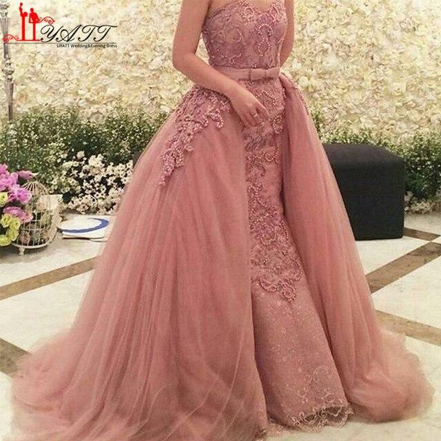 Sexy 2016 Nude Pink Sobrefaldas Dubai Árabes Vestidos de Noche Con ...