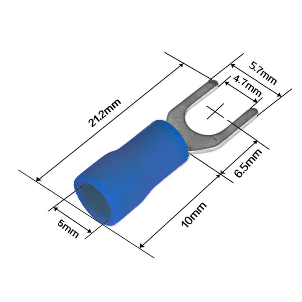 300 piezas aislado terminales de crimpado conectores de cable trasero Spade anillo eléctrico Kit surtido con caja de plástico
