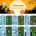 Mini Halloween Luminosa À Prova D' Água de transferência da Água-Adesivo Tattoo Tamporary Rosto Corpo Etiqueta do Tatuagem Para As Crianças 24 pçs/set (muita)