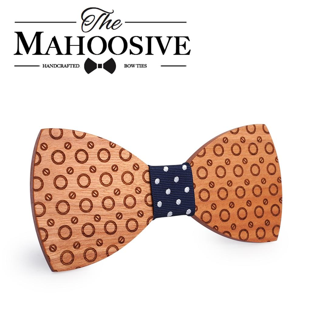 Mahoosive 2017necktie Bowtie Butterfly Gravata Ties For Men Dot Handmade Wood Bow Ties Boda Corbatas Mens Ties