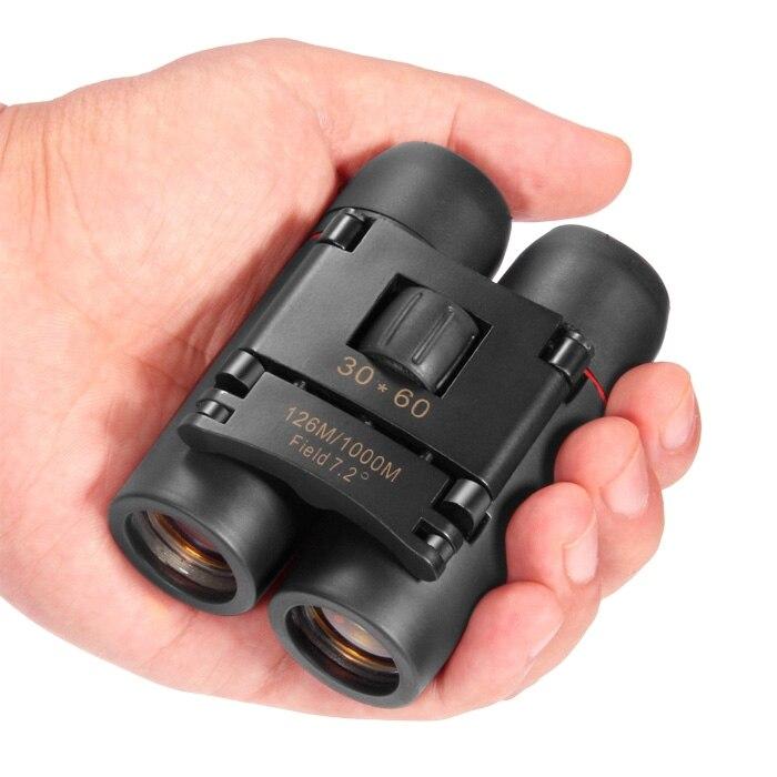 Deportes al aire libre 30x60 HD binoculares Zoom plegable telescopio Binocular 126 m-1000 m Camping escalada viaje Spotting alcance óptica