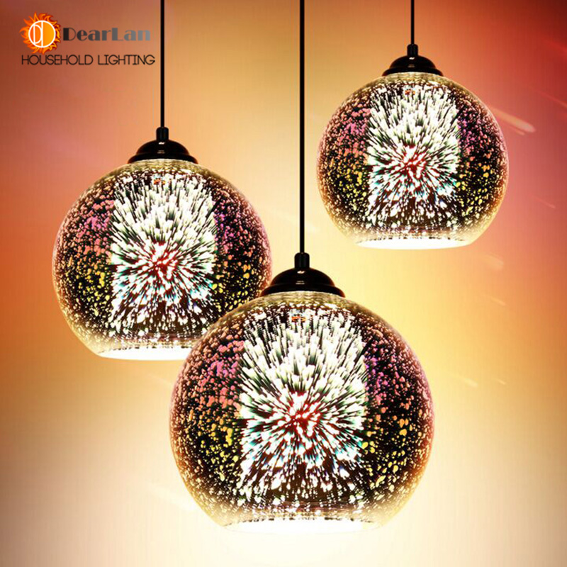 Modern 3D Plated Colorful Lamplight Glass Pendant Lamp Foyer Mall  Restaurant Lamp E27 110-240V Free Shipping диски helo he844 chrome plated r20