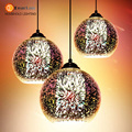 Modern 3D Plated Colorful Lamplight Glass Pendant Lamp Foyer Mall  Restaurant Lamp E27 110-240V Free Shipping