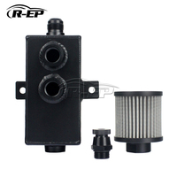 1Litre Oil Breather Catch Can Aluminum Racing Resevoir Breather Oil Catch Tank with Filter Universal XH-8085