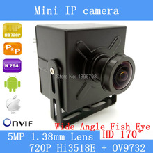 5MP 1.38mm 170 degrees Lens Wide Angle 720P CMOS 1.0MP CCTV Mini IP Camera P2P Plug and Play support ONVIF