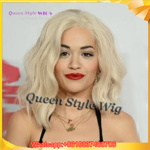Short African American Blonde Curly Hair Wig Synthetic Platinum