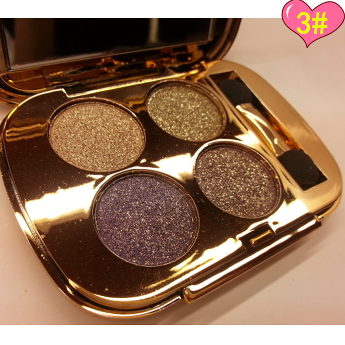 Natural Lasting Waterproof Makeup Eyeshadow with Brush 4 Color Professional Beauty Diamond Shimmer Eyeshadow Palette 60pcs cosmetic 4 colours diamond eyeshadow palette with mirror and brush