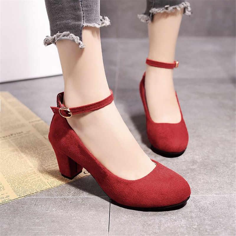 Kalın Topuklu Kadın Ayakkabı Pompaları Düğün 2019 Seksi Akın Başak Ayak Bileği Kayışı Parti Mary Jane Pompaları Moda Çalışma Siyah Topuk ayakkabı