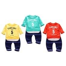 Baby Boys Spring Autumn Letter Patchwork Long Sleeve Top+Full Pants Sets Kids Children Soft Cotton Fashion Clothing 2pcs Sets цена и фото