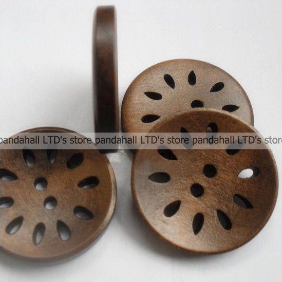 Круглое Ушко Швейные Кнопки, деревянные Кнопки, CoconutBrown, около 30 мм в диаметре, 100 шт./пакет