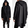 2016 Autumn Winter Brand Designer Men's Hoodies Long Loose Black Sweatshirt Hooded Zipper Cardigan Oversize Coat Outerwear M-3XL