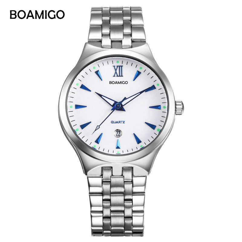 BOAMIGO marke uhren männer quarz business mode beiläufige uhr voller stahl datum frauen liebhaber paar 30 mt wasserdichte armbanduhren