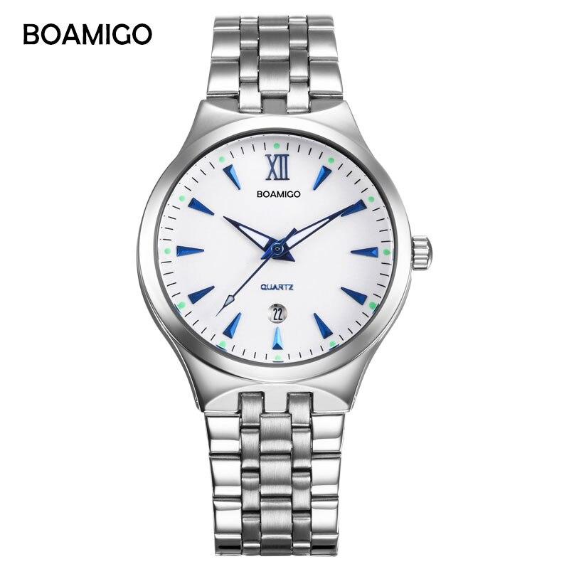 BOAMIGO orologi di marca quarzo degli uomini di affari di modo casuale della vigilanza di acciaio pieno data donne lover coppia 30 m impermeabile orologi da polso
