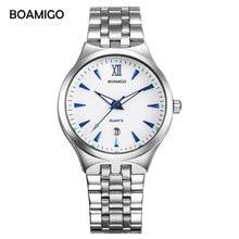 Спорт BOAMIGO марки мужские часы кварцевые бизнес моды случайные часы полная сталь Дата женщины любовник пара 30 м Водонепроницаемые наручные часы