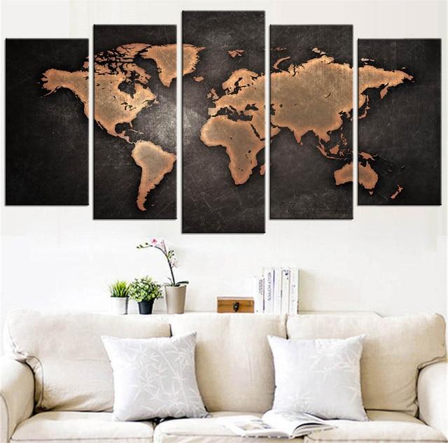 5 Pcs/Set Modern Abstract World Map Wall Art Painting World Map ...