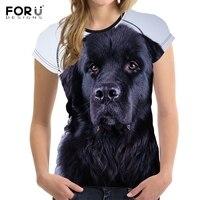FORUDESIGNS Fashion Women Summer T Shirts 3D Dog Newfoundland Print Tshirt For Teens Girls O Neck
