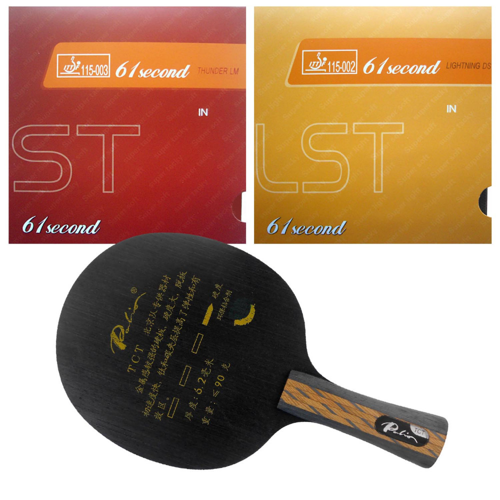 Palio TCT Blade with 61second Lightning DS LST and LM ST Rubbers with sponge for a table tennis racket Long Shakehand FL palio energy 03 blade with dhs tinarc 3 and 61second ds lst rubbers for a racket shakehand long handle fl