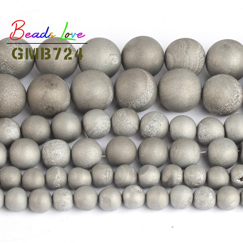 Natural Stone Bead Silver Metallic Coated Agat Round Loose Beads for Jewellery Making Diy Necklace Bracelet 6/8/10 mm 15