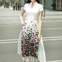 Traditional Vietnam Ao Dai Butterfly Print Elegant Slim Slit Dress Women Chinoise Modern Cheongsam Party Dresses Qipao Aodai