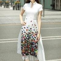 Traditional Vietnam Ao Dai Butterfly Print Elegant Slim Slit Dress Women Chinoise Modern Cheongsam Party Dresses Qipao Aodai