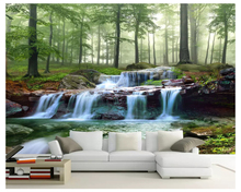 beibehang Custom wallpaper forest creek waterfall woods landscape personality living bedroom background wall papers home decor