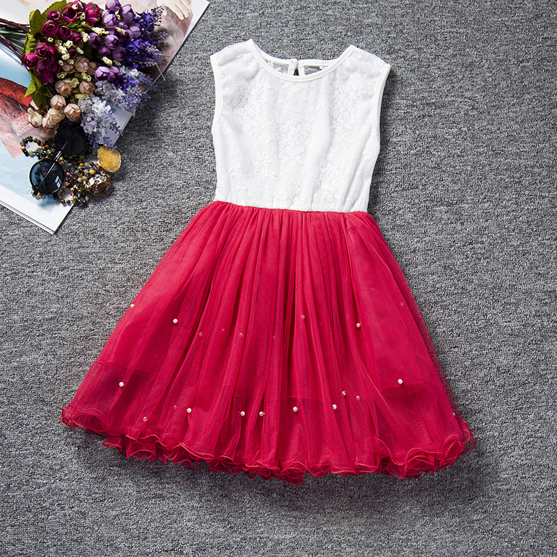 Kids Baby Girl Dresses Clothing Pearls Party Cute Sleeveless Ball Gown Tulle Tutu Dress New Outfit 2018 Spring Clothes for Girls cute sleeveless sequins embellish multilayered girl s ball gown dress