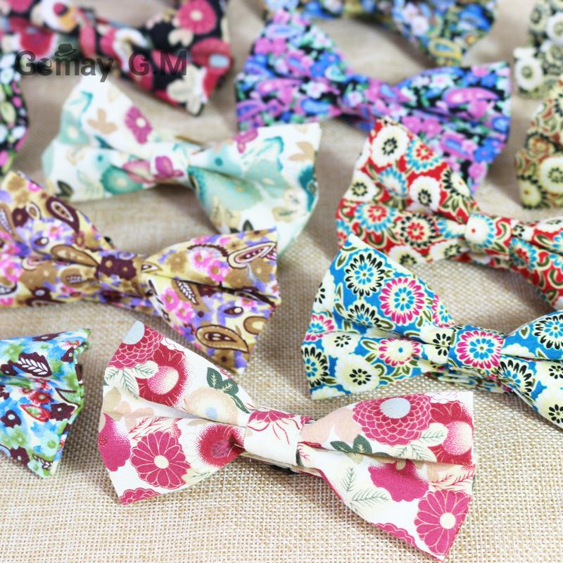 Men Cotton Bow Tie Flower Printed Vintage Bowtie for Bridegroom Gravata Slim Fashion Wedding Bowties