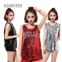 DJGRSTER Female singer Sexy costume silver Red sequins dance wear bar dj clothes Top stage costumes women singer hip hop costume