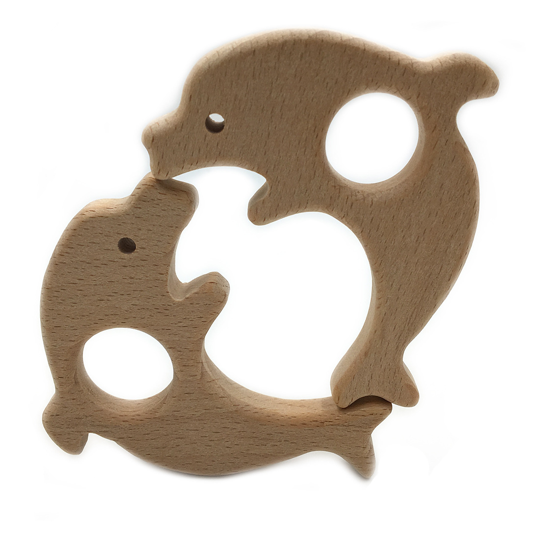 Organic Beech Wooden Dolphin Natural Handmade Wooden Teether DIY Wood Personalized Pendent Eco-Friendly Safe Baby Teether Toys