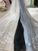 Latest African Laces 2017 Fushia Pink Bridal Tulle Fabric, White Blue Gray black Lilac Embroidered Tulle Lace Fabric