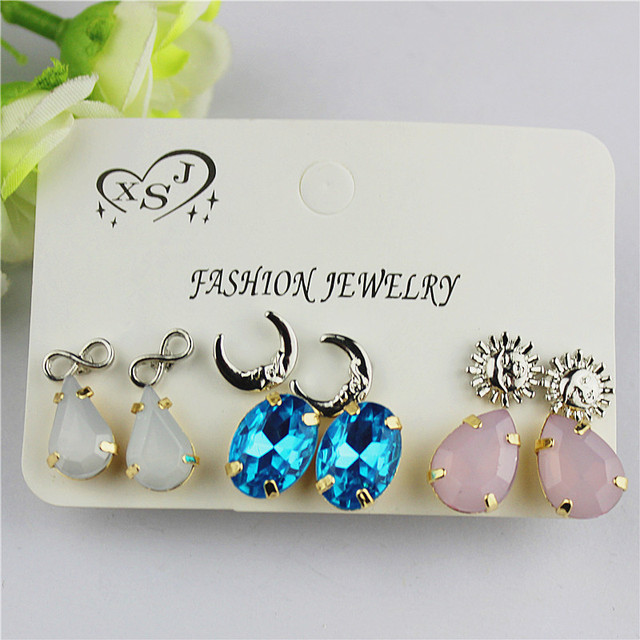 Hot new style women jewelry Girl Birthday Party pink ear nail moon sun 6 pairs of /set mixed set of ear ring agent shipping 4