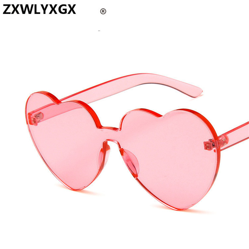 New Fashion cute sexy retro Love Heart Rimless Sunglasses Women Luxury Brand Designer Sun glasses