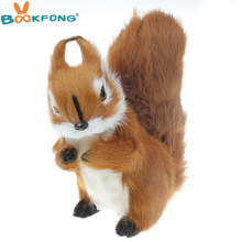 BOOKFONG Simulation Squirrel Doll Ornaments Cute Kids Toys Birthday Gift Creative Home Decoration Plush Animals Squirrel Toys