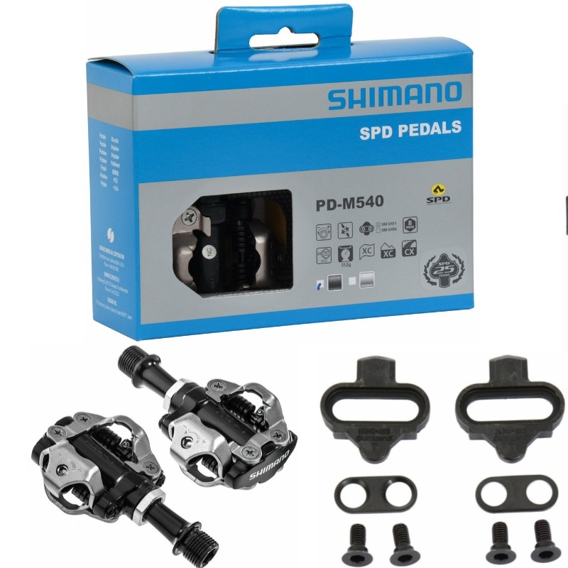 SHIMANO SPD Pedal E-PDM540 Silver NEW with CLEATS, Shipped from US
