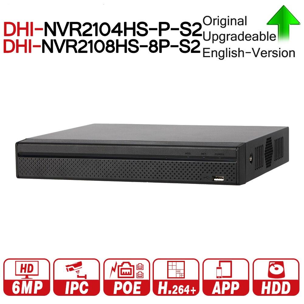 DH NVR2104HS-P-S2 NVR2108HS-8P-S2 4/8 CH POE NVR 1U PoE Network Video Recorder Full HD 6MP Record Per La Macchina Fotografica del IP con logo