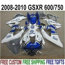 Новые инъекции кузовные обтекатели для 08 09 10 Suzuki GSXR 750 белый синий обтекатель комплект для GSXR 600 2008 2009 2010 RG72