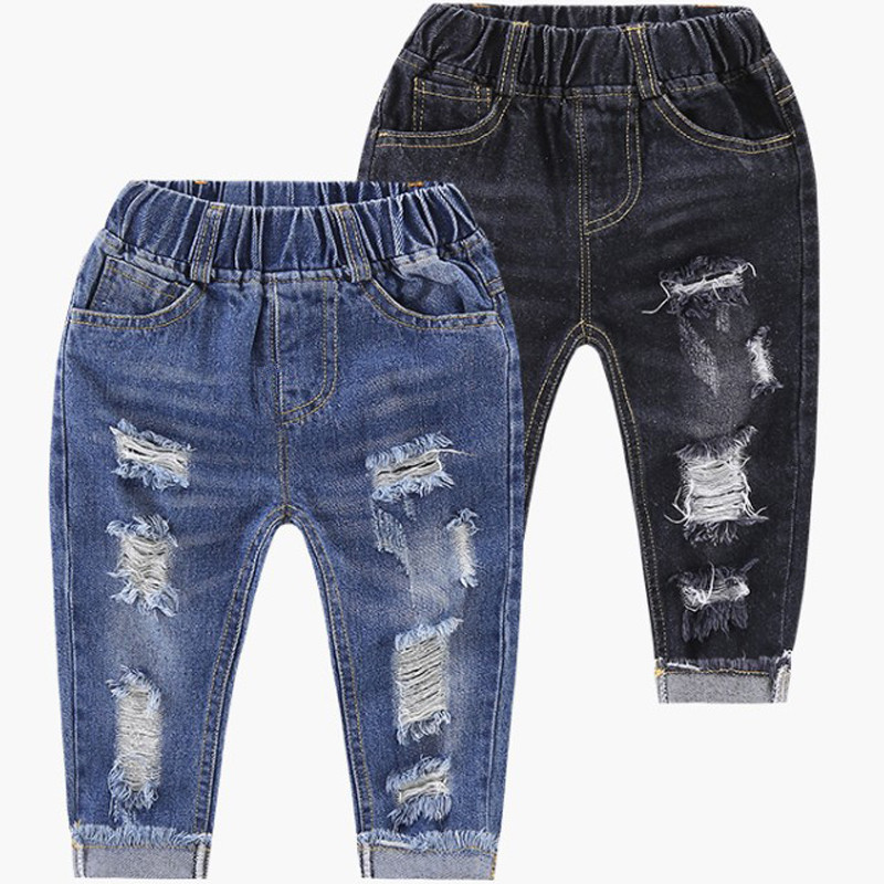 2018 Hot Sale Boys Jeans Children Clothing Spring Denim Pants For Boys 2-8T Hole Ripped Design Trousers Boys Clothes Kids Jeans jeans womens 2017 spring korean fashion vintage badge ripped blue denim pants trousers long pencil pants jeans femme b67