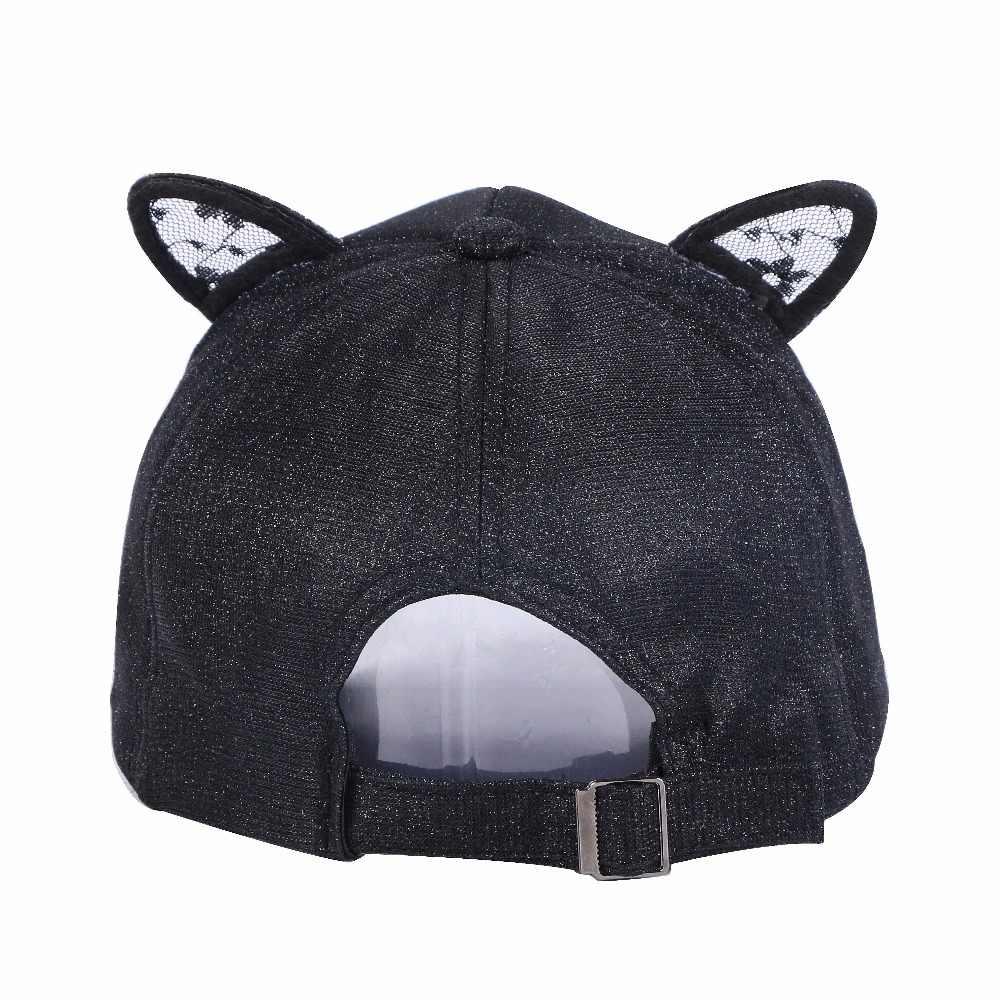 c0675f5052 ... new women lovely cap hat baseball cap casual hat rhinestone lace cat  ear design cartoon style ...