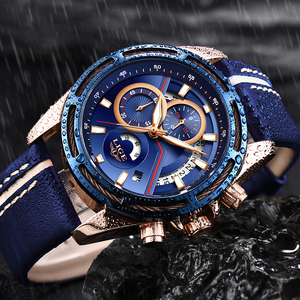 Image 2 - חדש ליגע Mens שעונים למעלה מותג יוקרה כחול צבאי ספורט שעון גברים עור עמיד למים שעון קוורץ Wishwatch Relogio Masculino