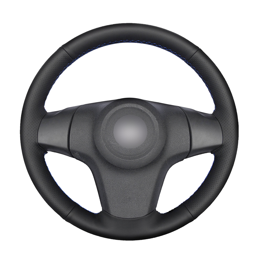 FITS 1991-2004 PEUGEOT 106 BLACK LEATHER STEERING WHEEL COVER SILVER STITCHING