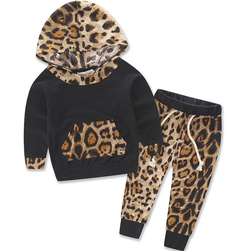 Leopard Baby Girls Clothing Newborn Infant Bebek Hooded Tops Sweatshirt + Pants 2pcs Outsuit Kidssuit Set Pakaian