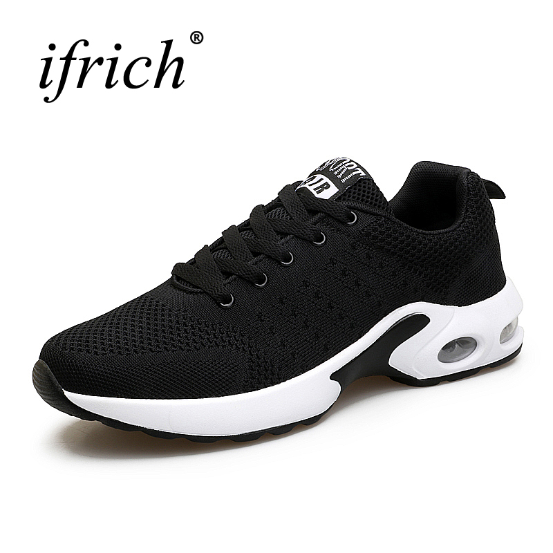 2017 New Breathable Sport Sneakers Men Air Cushion Runing Shoes Lace Up Spring Summer Trainers Black Blue Jogging Sneakers Cheap