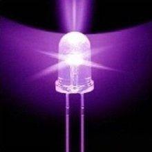 50pcs F5 5mm Round Ultra Violet LED UV Light 390-395nm Purple Lamp