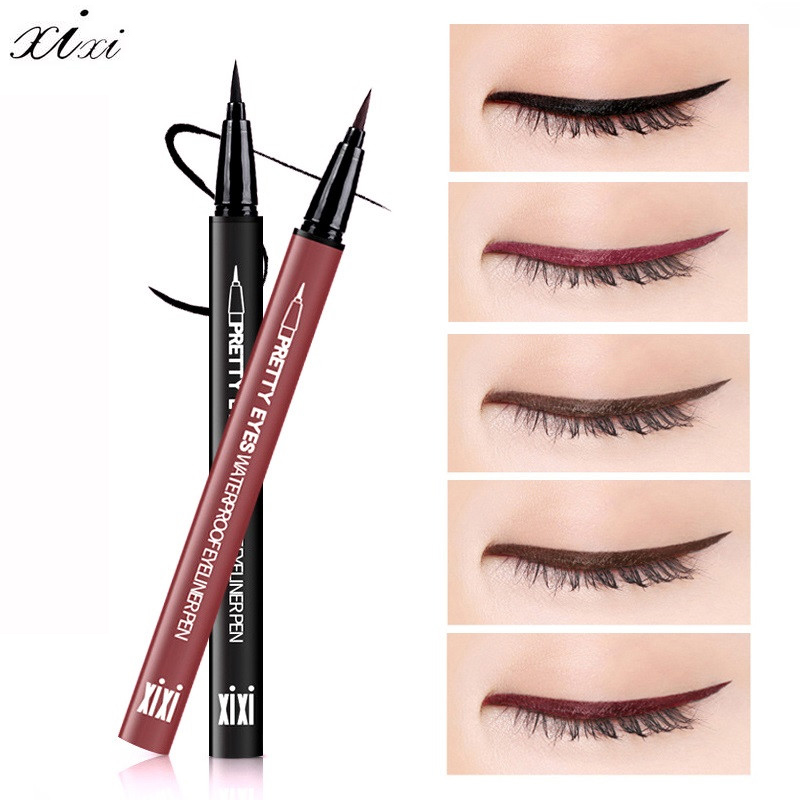 XIXI proffesional Eye Liner Cosmetics Long Lasting Waterproof Pigment Natural Black Red Brown Color Pencil Eyeliner Makeup ...