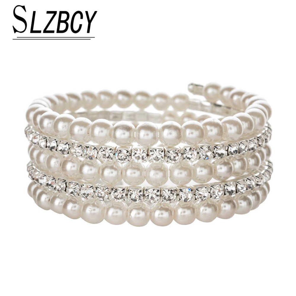 SLZBCY Luxury Multilayer Rhinestones Pearl Bracelets Bangles for Women  Crystal Adjustable Round Wristband Cuff Jewelry