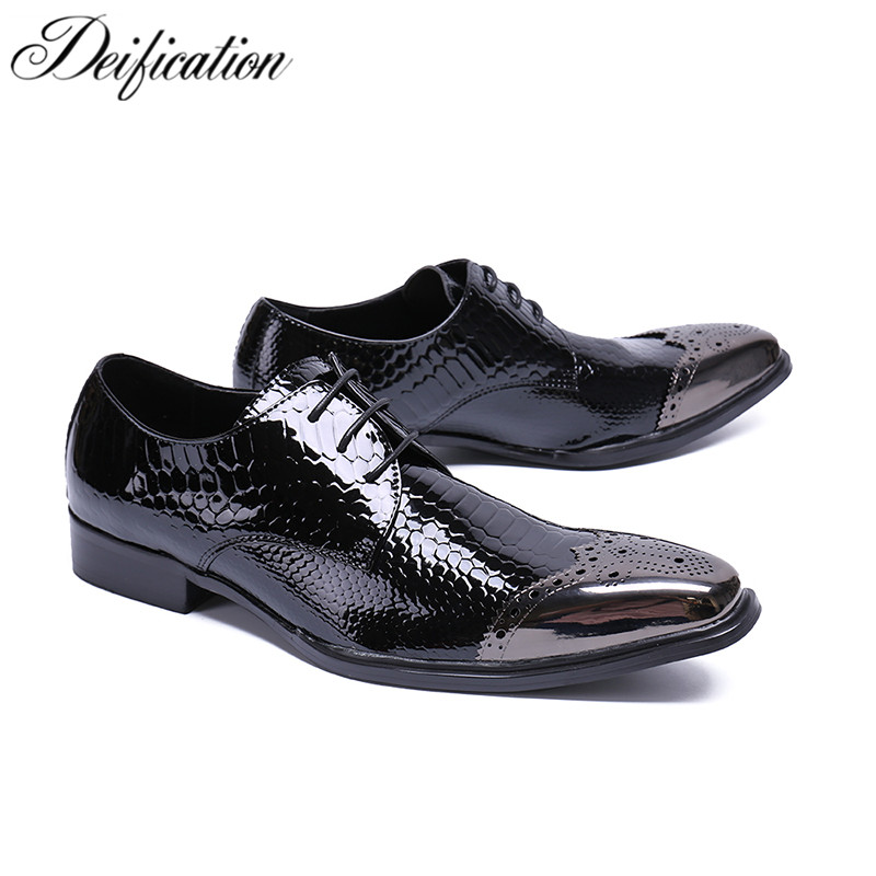 Deification Fashison Metal Square Toe Mens Dress Shoes Leather Black Luxury Wedding Shoes Lace Up Men Flats Office Formal Shoes