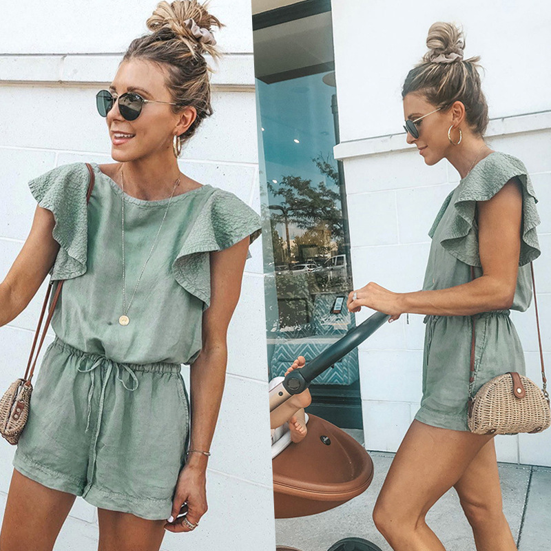Summer Women Playsuit Ruffles Lace Up Pocket Overalls for Women Short Jumpsuit Casual Loose Rompers Elastic Waist Harajuku N328