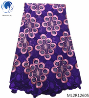 BEAUTIFICAL swiss voile lace fabrics swiss lace 2019 multi color dry fabrics laces with rhinestones for women 5yards ML2R126