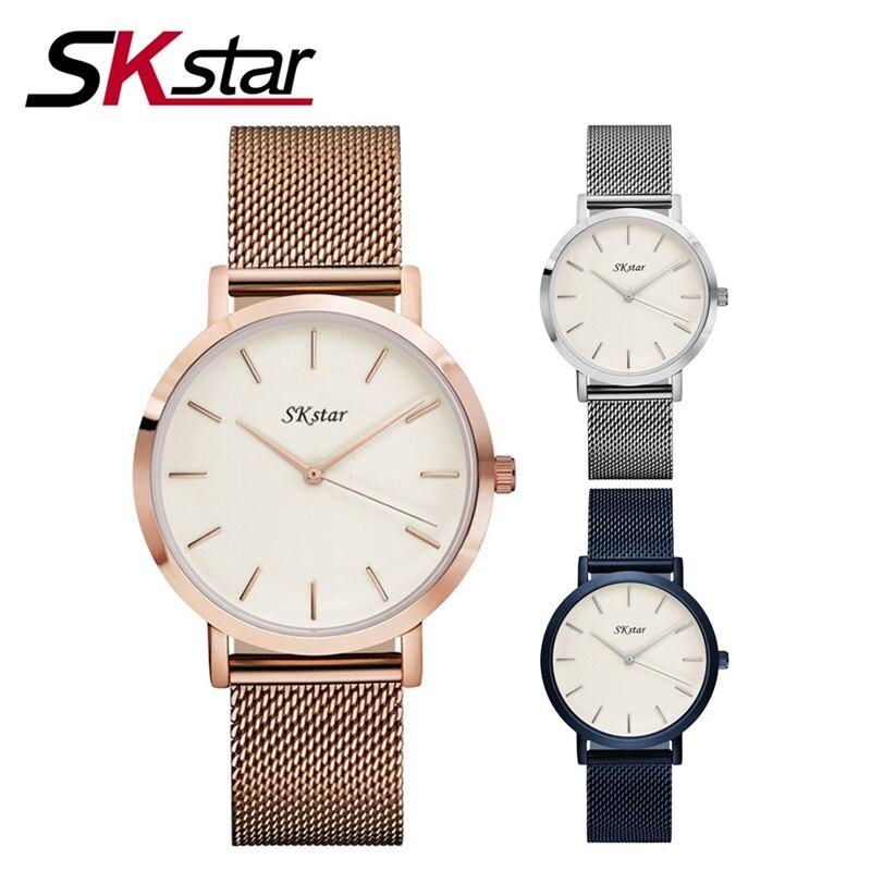 2017 Women Watches Top Brand Luxury SKstar Stainless Steel Mesh Strap Quartz Watch Men Fashion